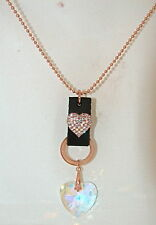 G & H Sade Pink Gold Ball Chain Necklace w Double Heart