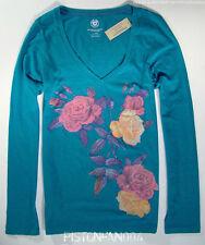 American Eagle Womens Cerulean Blue Floral Sequin V-neck Shirt MEDIUM NWT