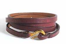 IPPOLITA 18K Yellow Gold Bordeaux Leather Wrap Bracelet Hook Pelle