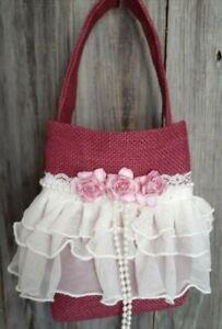 Burlap, lace flower Girl Basket, Rustic, hippie, burgundy, pink, ivory