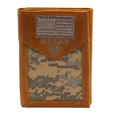 Ariat Men's Brown Trifold Digital Camo Wallet w/ Flag
