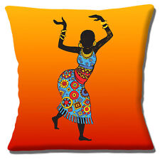 "African Tribal Lady Cushion Cover 16""x16"" 40cm Ethnic Design Orange Shades Multi"