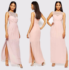 BNWT Lipsy Size 10 Maxi Long Nude Sequin Dress Lace Prom Ball VIP Wedding