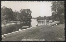 RP POSTCARD BOBCAYGEON, CANADA GUIDE BOATS ON CANAL & DOCKS 1940'S