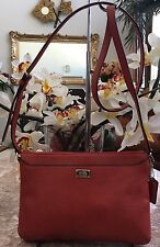 Auth Coach Orange Pebble Leather Swing-pack Cross-body Bag EUC