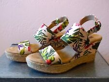 Women's Shoes Hawaiian Floral Espadrille Platform Slingback Pin Up 6M Excellent