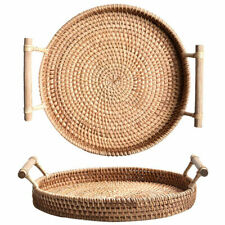 Handmade Rattan Weaving Storage Basket Fruit Dish Bread Tray Kitchen Food Plate