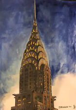 Hand painted Chrysler Building - water color and acrylic - signed