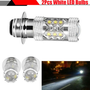 2x 80W Super Bright Motorcycle Bike H6 LED Bulbs Fog DRL Daytime Driving Light