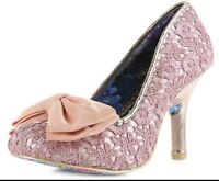 IRREGULAR CHOICE MAL E BOW PINK ROSE GOLD LACE VINTAGE BOW COURT SHOES SIZES 3-8