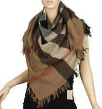 NEW BURBERRY CLASSIC COLOR HOUSE CHECK WOOL OVERSIZED FRINGED SHAWL WRAP SCARF