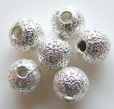 200pcs 4mm Round Brass Stardust Metal Spacers - Bright Silver