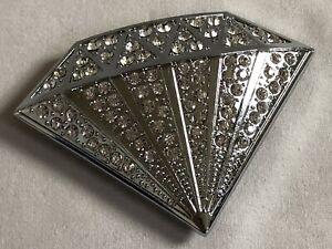 RHINESTONE SILVER DIAMOND METAL BELT BUCKLE - SILVER TONE - HIP HOP - Free P&P