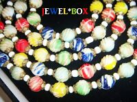 "ART DECO CZECH URANIUM HARLEQUIN MARBLED GLASS BEAD 54"" FLAPPER Vintage NECKLACE"
