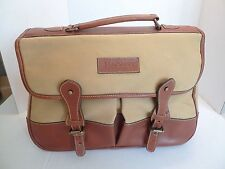 HACKETT LONDON--COTTON CANVAS & LEATHER TRIM BAG- WITH REMOVABLE PADDED INSERTS
