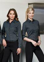 BIZ COLLECTION Brand Black Teal Blue Striped Long Sleeve Shirt Size 10 BNWT