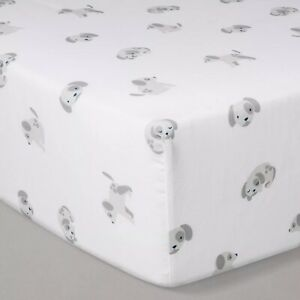Cloud Island- Crib Fitted Sheet, White/Gray
