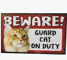Beware Guard Cat on Duty Sign Yellow Cat on Duty Wood Hanging Sign 8 X 5""