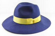 LADIES ROYAL BLUE PANAMA STYLE HAT WITH YELLOW RIBBON UNIQUE STATEMENT(HT21)