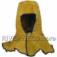 Yellow Welding Hood Cowhide Split Leather Hood with Neck Shoulder Drape