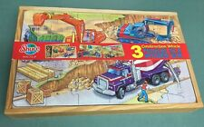SHURE CONSTRUCTION VEHICLES-3 WOODEN PUZZLES IN A WOODEN BOX