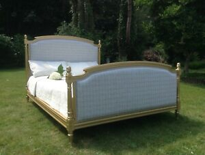 FRENCH DOUBLE BED FRAME - GREY CHECKED FABRIC - GOLD FRAME - DESIGNER REFERB