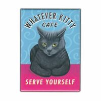 "Retro Pets Magnet, Whatever Kitty Cafe, Grey Cat, Advertising Art, 2.5"" x 3.5"""
