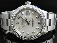 Mens Stainless Steel Rolex Datejust Watch with 2.15 Ct Diamond MOP Dial