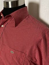 Lacoste Shirt Mens Medium Size 40 Plaid Red Striped Cotton Short Sleeve