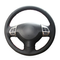For Outlander /ASX Car Hand-stitch Steering Wheel Cover Black Artificial Leather