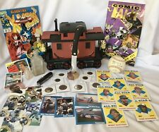 JUNK DRAWER-LOT OF COLLECTIBLES-CASE KNIFE+SIGNED COMIC+COINS+DECANTER+SPORTCARD