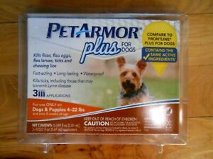 Pet Armor Plus Flea & Tick Treatment FOR DOGS & PUPPIES 4-22 LBS (3 mos supply)