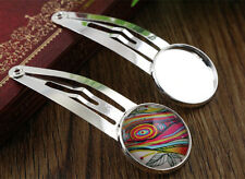 10pcs Bright Silver Plated Hair Clips | 20mm Cabochon Setting