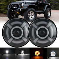 "2X 7""INCH 60w LED Headlight Hi/Lo Halo Ring DRL For Jeep Wrangler CJ JK TJ LJ"