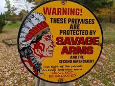 OLD VINTAGE 1972 SAVAGE ARMS PORCELAIN ENAMEL SIGN INDIAN WINCHESTER DEALER TX