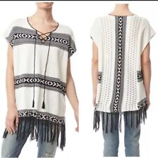 Paper Crane Poncho Aztec Print Fringe Lace Up Size Medium Black White Tassels