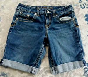Justice Jean Denim Bermuda Shorts Size 10 1/2 10.5 Cuffed