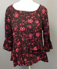 VELVET Black Red Floral 3 Quarter Sleeve Ruffle Trim Scoop Neck Top Sz S EE4427