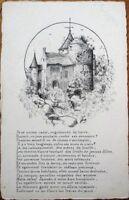 Hand-Drawn/Artist-Signed 1909 Original Art Postcard - Castle, Exceptional Detail