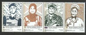 MALAYSIA 2021 FIGHT VIRUS 19 FRONTLINERS HERO SE-TENANT STRIP COMP. SET 4 STAMPS