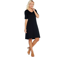 Isaac Mizrahi Live Essentials Pima Cotton Dress Black Color Size S