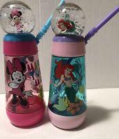 2 Disney : Ariel & Minnie Mouse Plastic Tumbler Travel Cups w Straw & Snow Globe