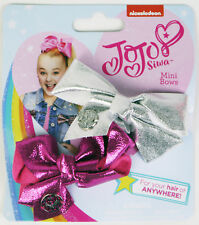 Jojo Mini Bow Pink and Silver Metallic 8cm Signature Bows Hair Clips Siwa