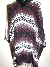 Genuine Mexican Poncho Western Style Maroon Grey Blanket Costume Party Supplies