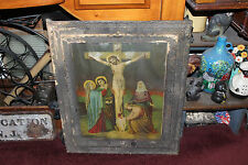 Antique Framed Religious Christianity Print Crucifixion Of Christ-Large-Color