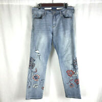 Pilcro and the Letterpress Womens Size 31 Slim Boyfriend Embroidered Jeans Denim