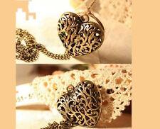 Vintage RETRO bronze Love Heart hollow out Flower Pendant Necklace Sweater P30