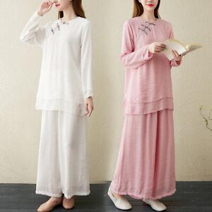 Women Yoga 2 Pcs Set Cotton Linen Tops and Pants Spring Autumn Suits Size M-2XL