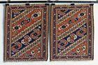 "Vintage Caucasian Khorjin saddle bag panel PAIR Soumak Kazak Rug tribal 20""x25"""