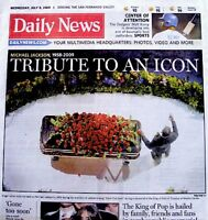 Michael Jackson Newspaper LA Daily News 2009 Icon Tribute Thriller King Of Pop